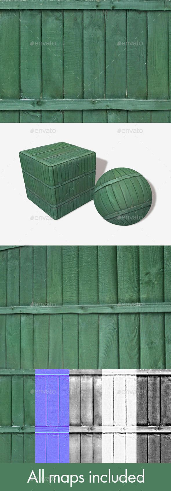 Green Wooden Panels Seamless Texture - 3DOcean Item for Sale