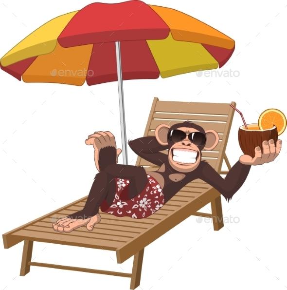 Monkey With a Cocktail - Animals Characters