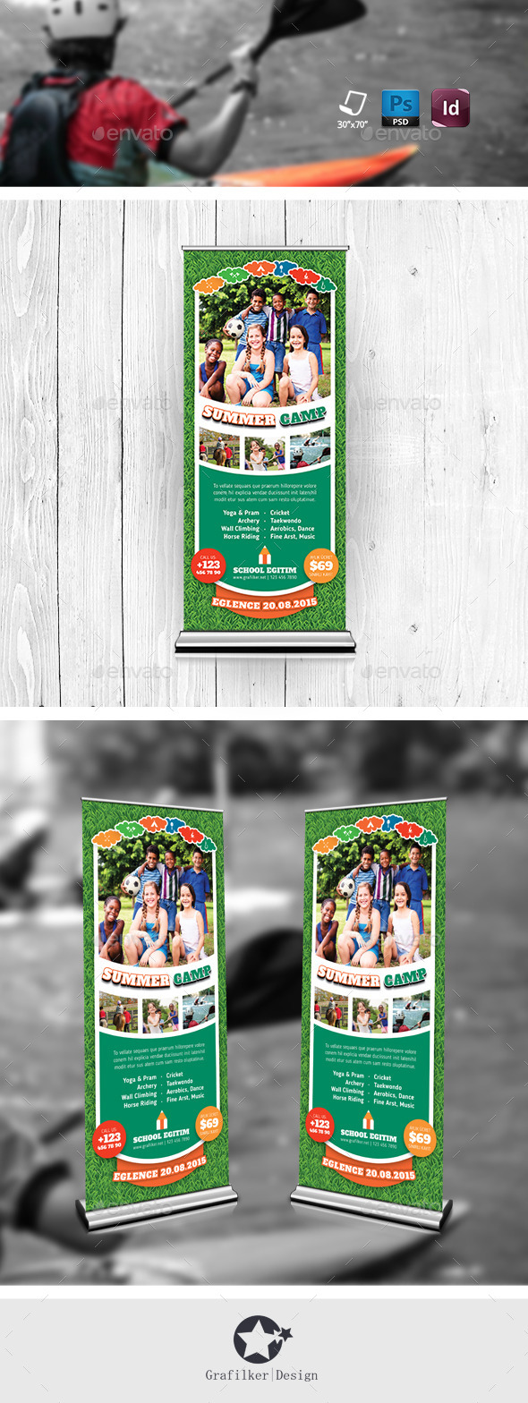 Summer Camp Roll-Up Templates - Signage Print Templates