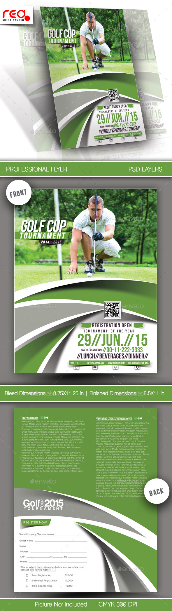 Golf Cup Tournament Flyer Template - 3 - Sports Events
