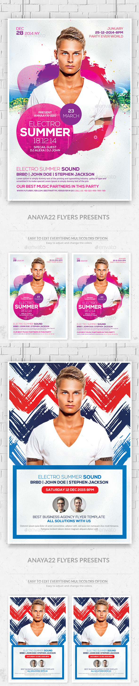 Summer Electro DJ Flyers Bundle - Clubs & Parties Events