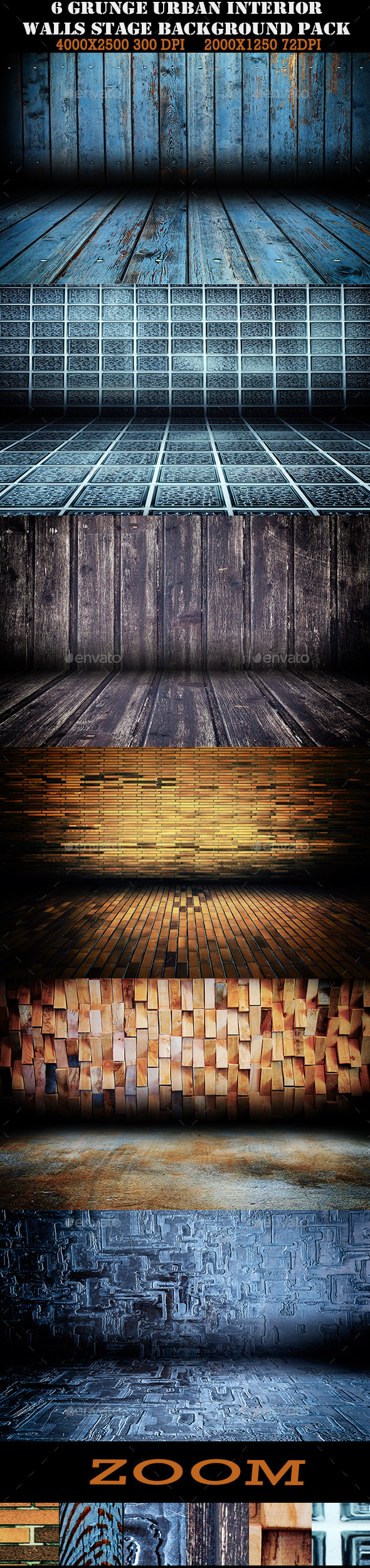 6 Urban Interior Stage Grunge Walls - Urban Backgrounds