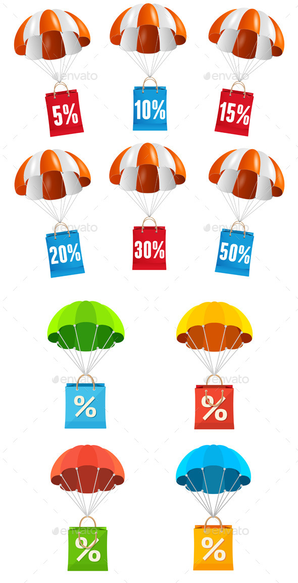 Parachute Sale Labels Icon Set - Commercial / Shopping Conceptual