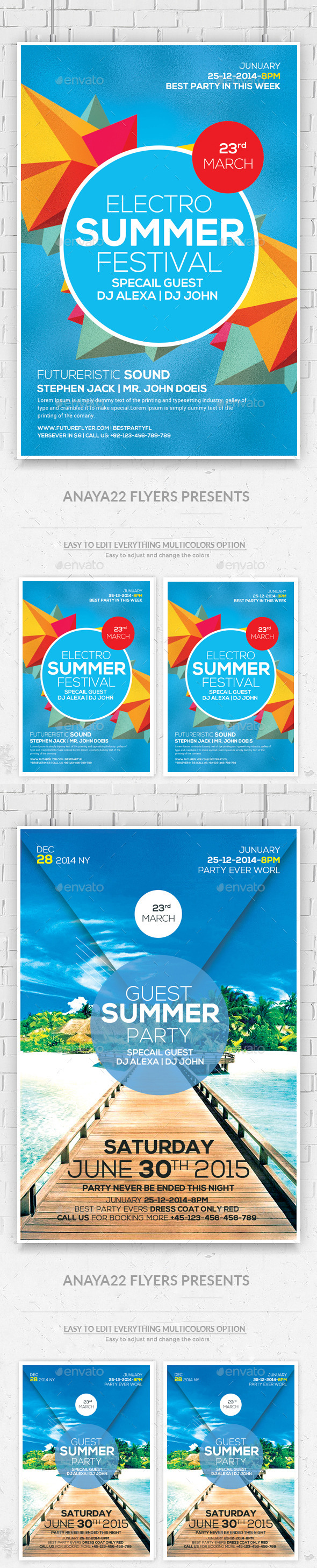 Summer Sound Party Flyers Bundle - Clubs & Parties Events