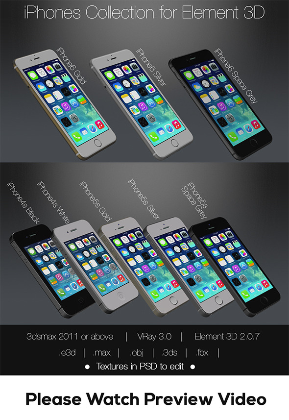 Element3D Apple iPhones Pack - 3DOcean Item for Sale