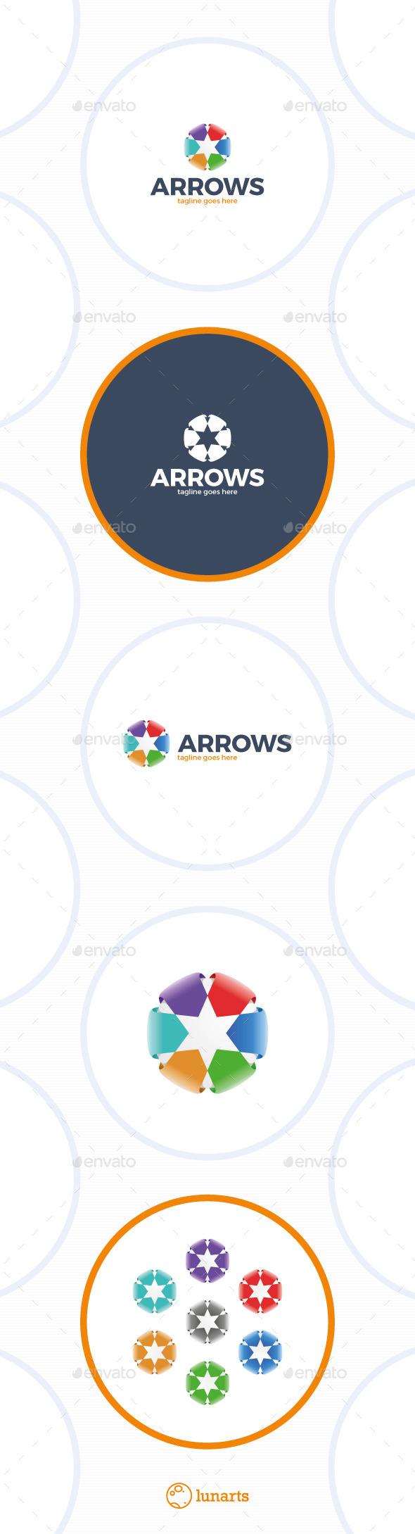 Color Arrow Star Logo - Abstract Logo Templates