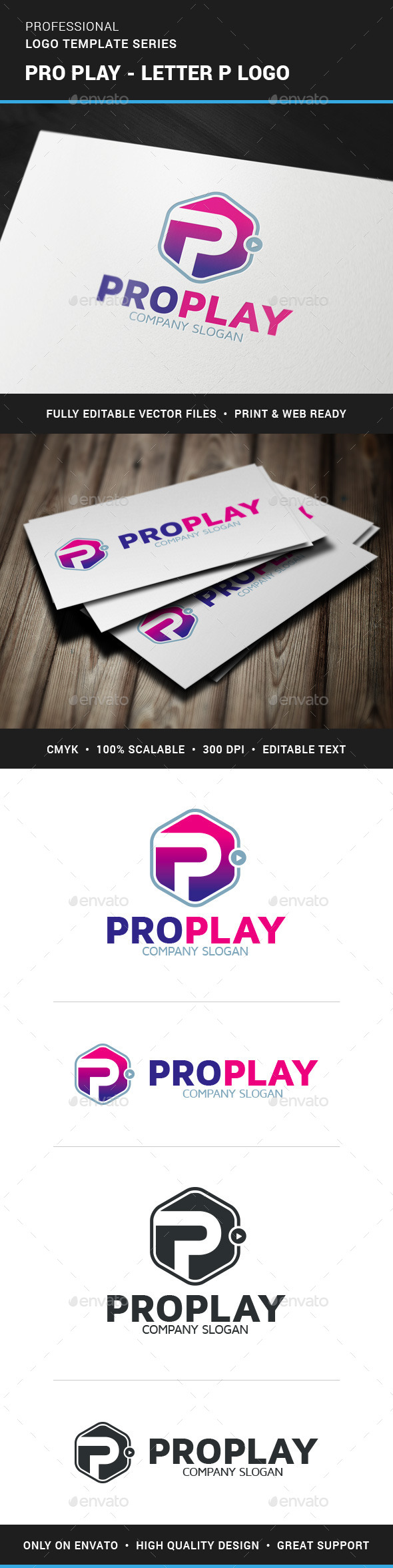Pro Play - Letter P Logo - Letters Logo Templates