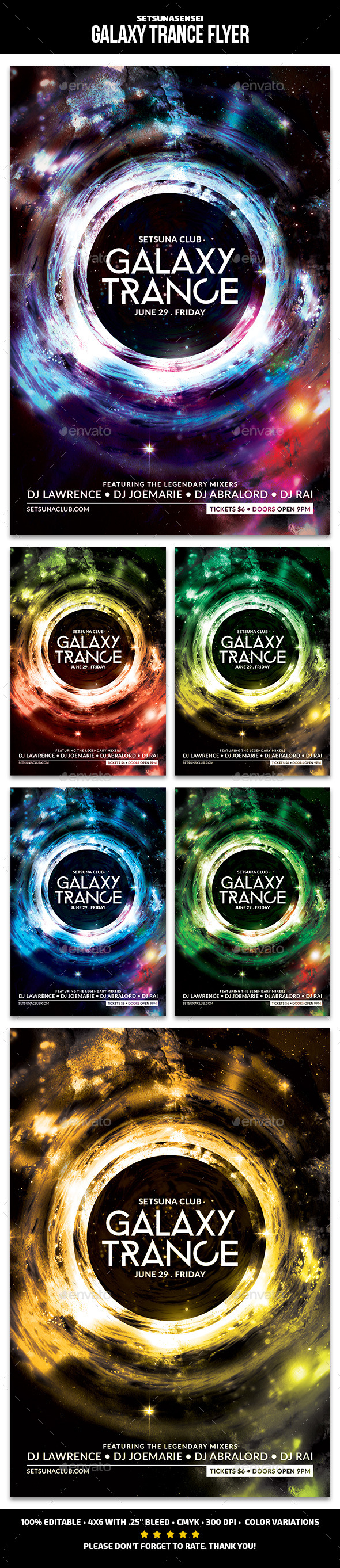 Galaxy Trance Flyer - Clubs & Parties Events
