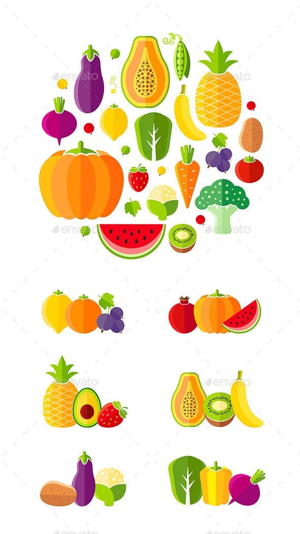 Healthy Lifestyle Design Elements - Food Objects