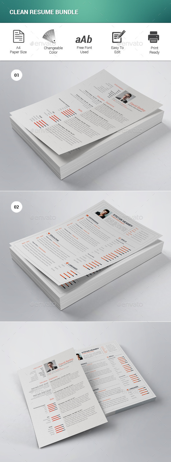 Clean Resume Bundle - Resumes Stationery