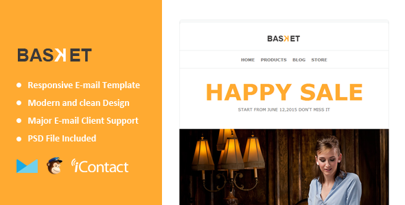 Basket - eCommerce Responsive E-mail Templates +Themebuilder Access - Email Templates Marketing