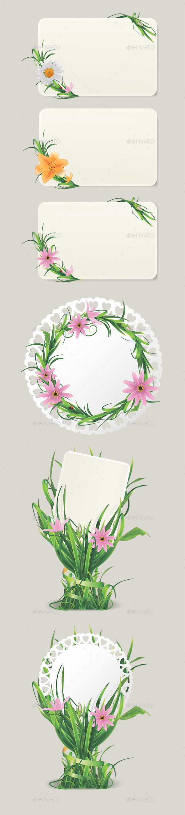Cards with Grass and Flowers - Flowers & Plants Nature