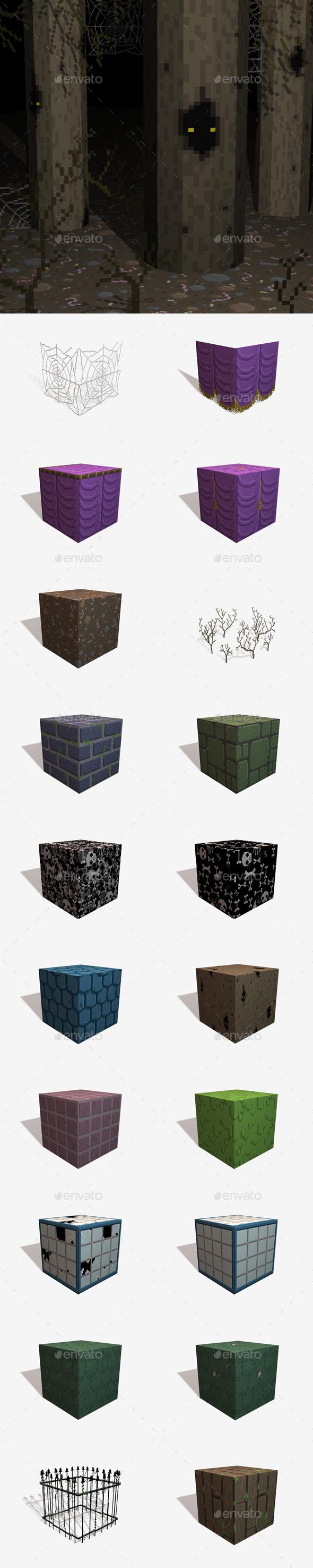 20 Horror Pixel Texture Pack - 3DOcean Item for Sale