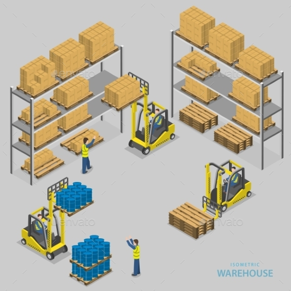 Warehouse Loading Isometric Illustration - Industries Business