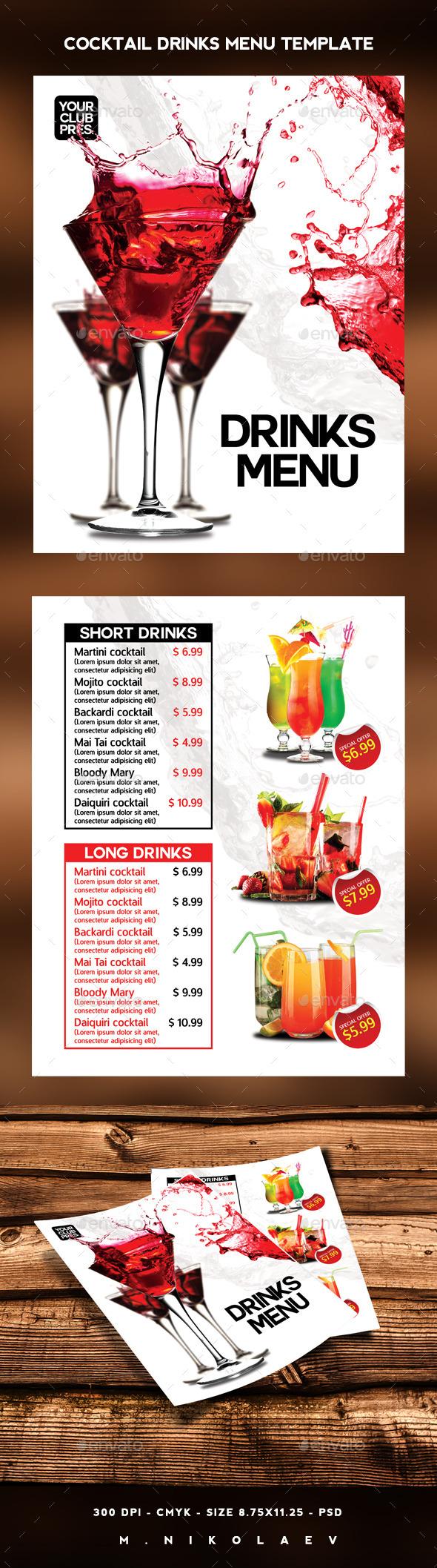 Cocktail Drinks Menu - Food Menus Print Templates