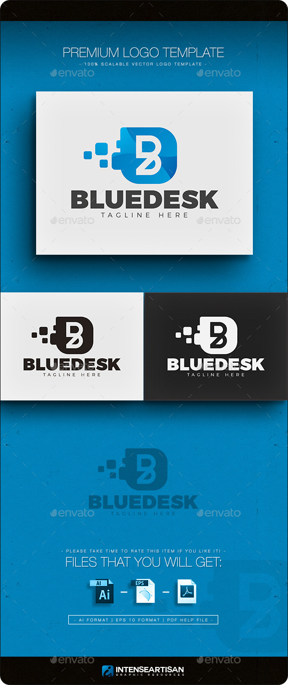 Blue Desk - Letter B Logo - Letters Logo Templates