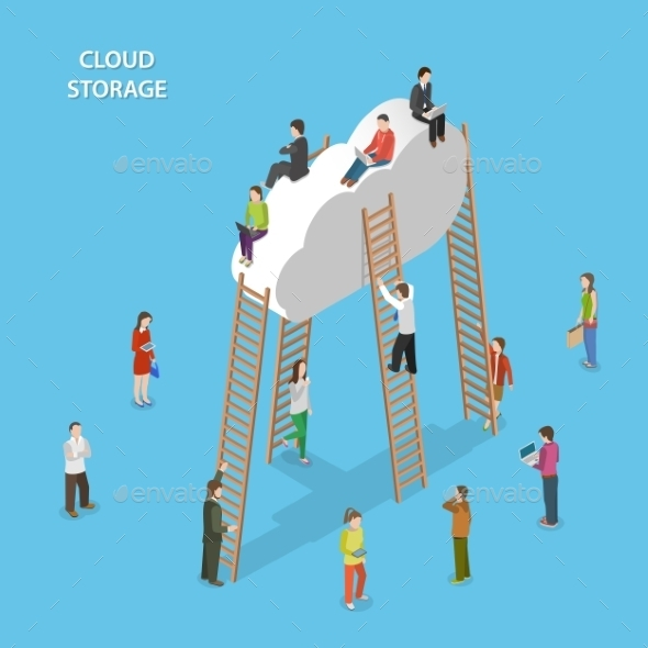 Cloud Storage Isometric Vector Concept - Media Technology