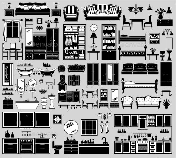 Set of Furniture Icons - Buildings Objects