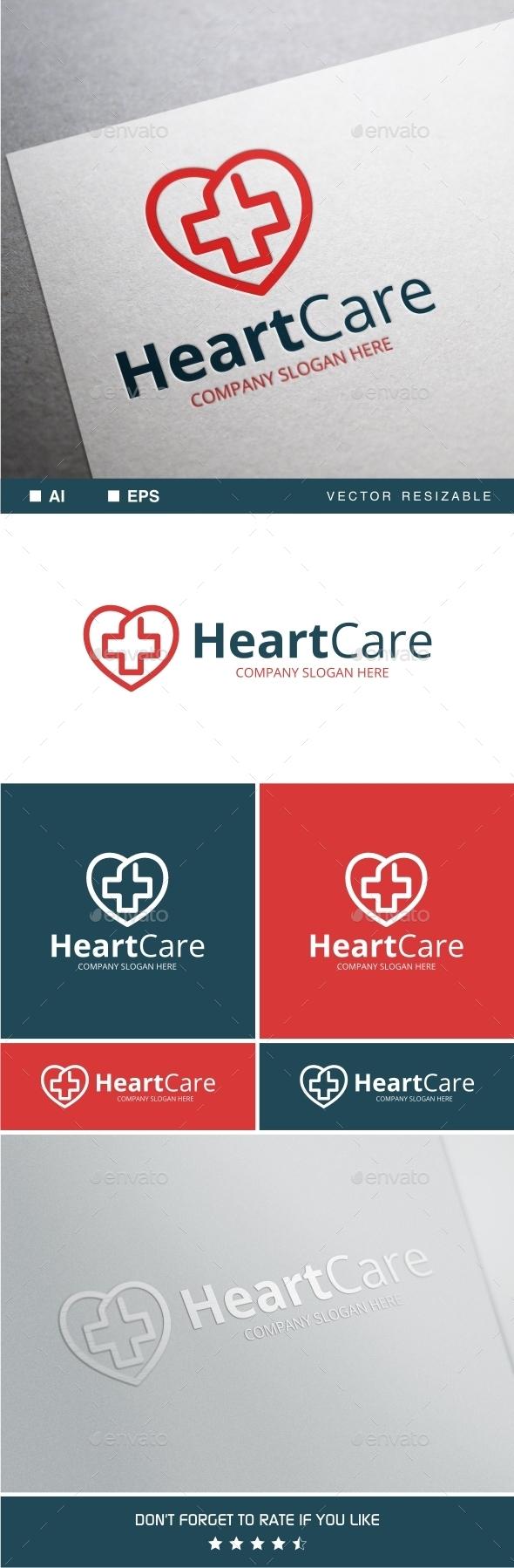 Heart Care Logo Template - Symbols Logo Templates