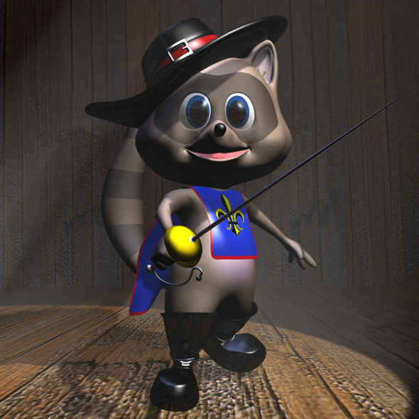 Raccoon Musketeer Cartoon Character Rigged - 3DOcean Item for Sale