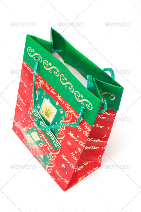 Christmas Shopping Bag - Stock Photo - Images