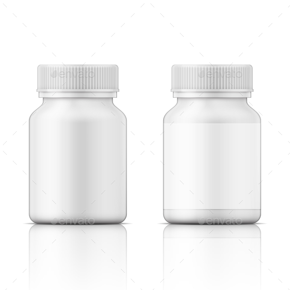 White Plastic Bottle for Pills - Health/Medicine Conceptual