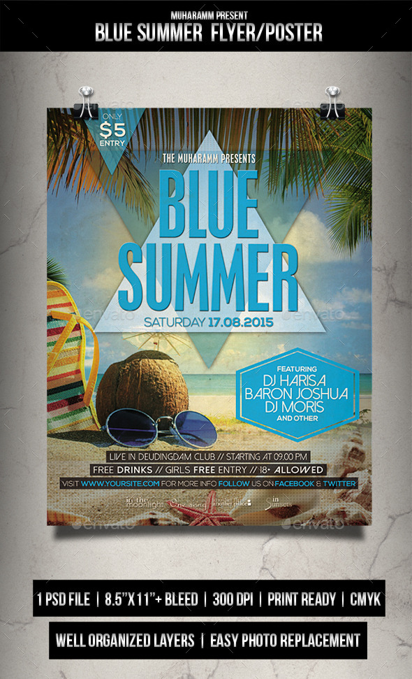 Blue Summer Flyer / Poster - Clubs & Parties Events
