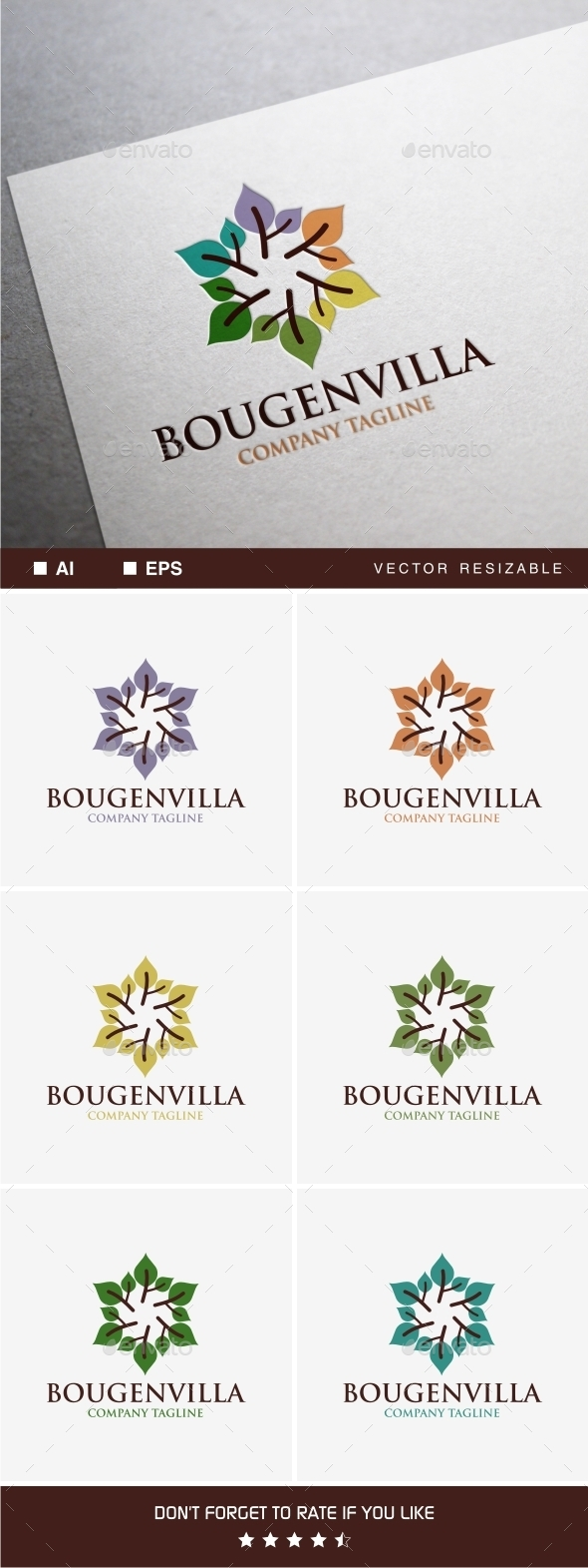 Bougenvilla Logo - Nature Logo Templates