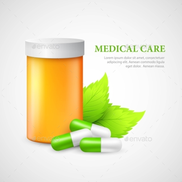 Container and Pills - Health/Medicine Conceptual