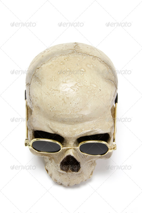 Skull with sun glasses - Stock Photo - Images