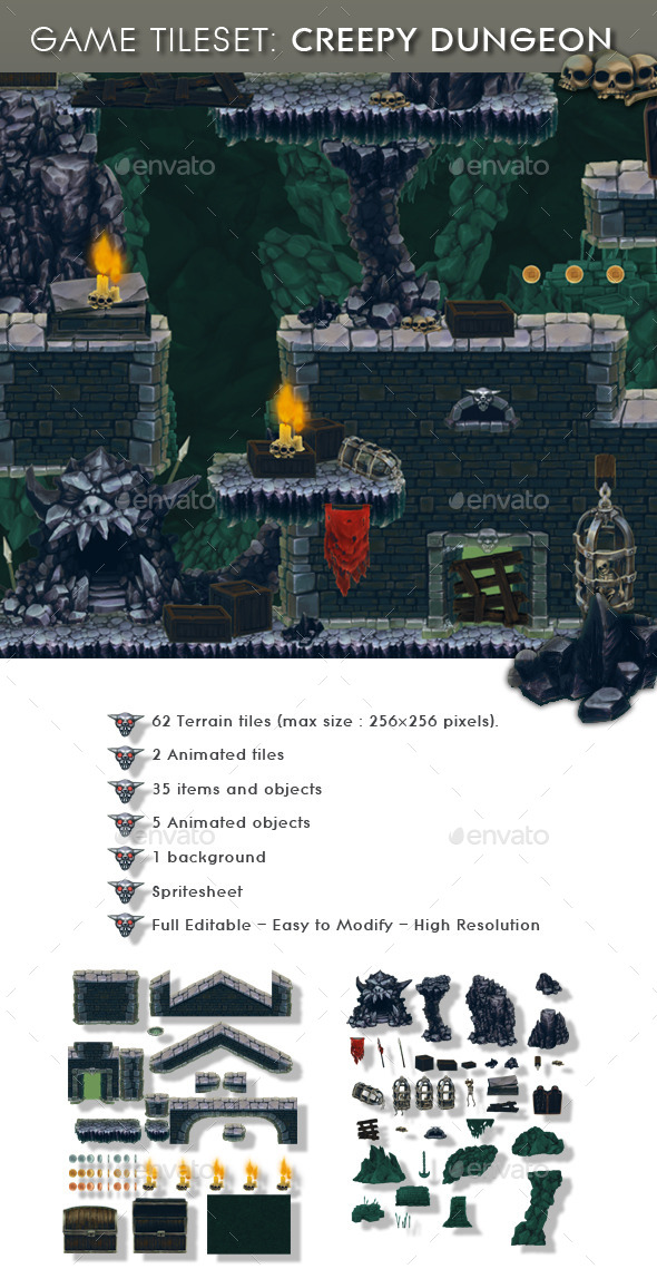 Creepy Dungeon - Platform Tileset - Tilesets Game Assets