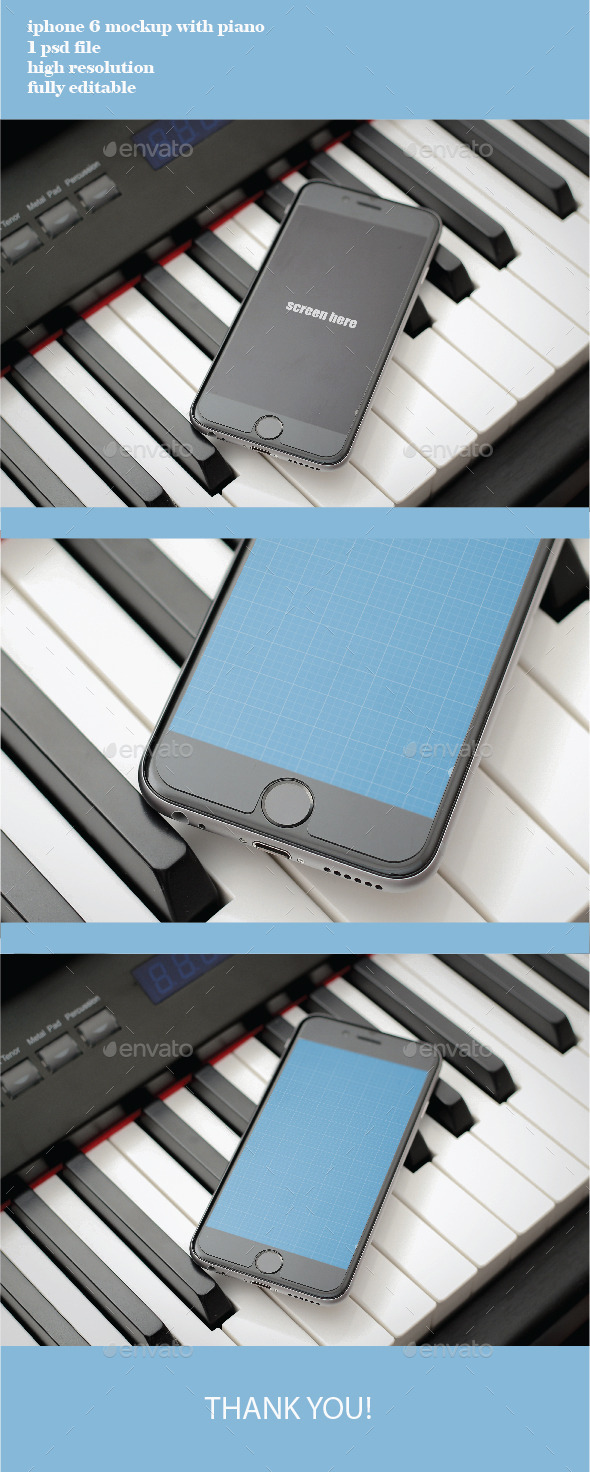 photorealistic iphone 6 on the piano - Mobile Displays