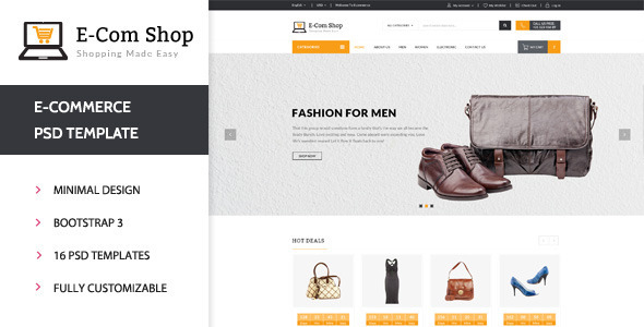 E-com Shop - eCommerce Shopping PSD Template