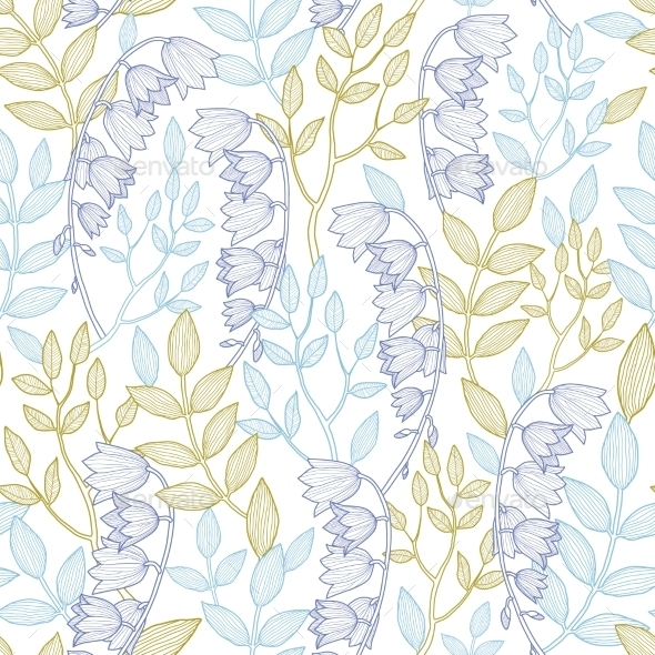 Vector Forest Lily Seamless Pattern Background - Flowers & Plants Nature