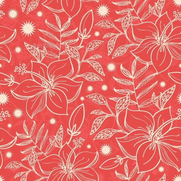 Vector Red And Beige Tropical Floral Seamless - Patterns Decorative