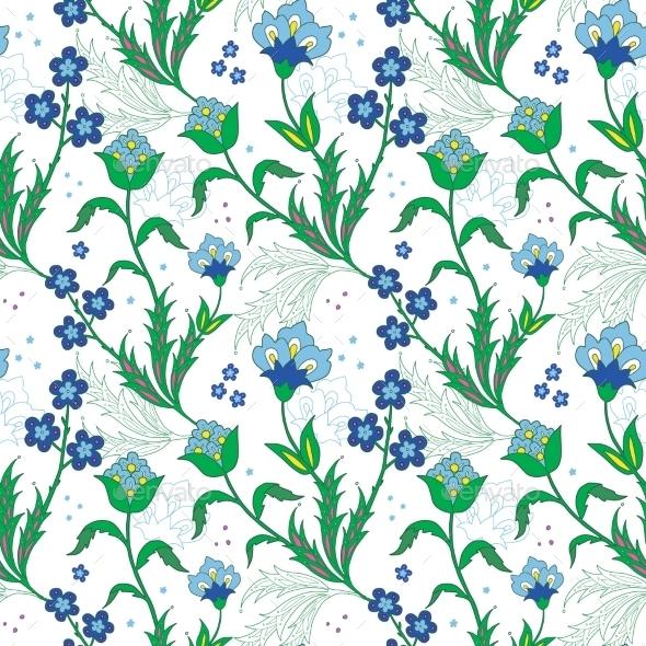 Vector Turkish Field Flowers Seamless Pattern - Flowers & Plants Nature