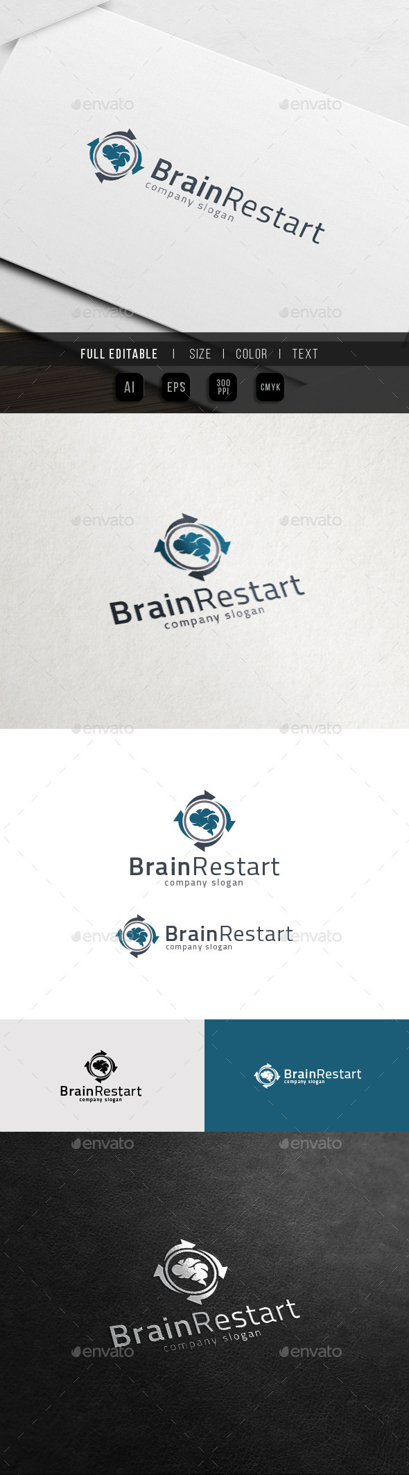 Brain Restart - Concept Load - Idea Share Logo - Objects Logo Templates