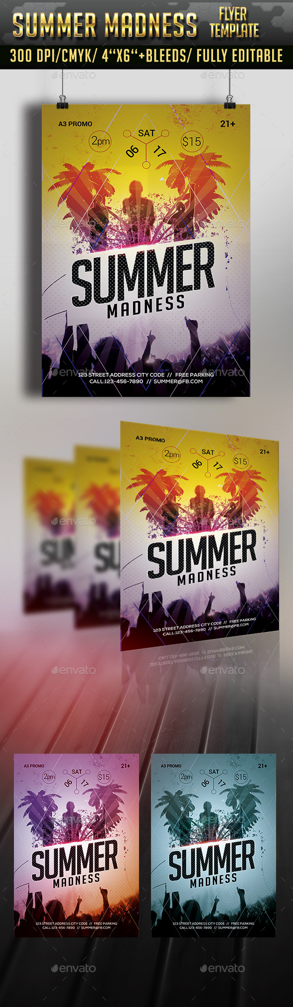 Summer Madness Flyer Template - Clubs & Parties Events