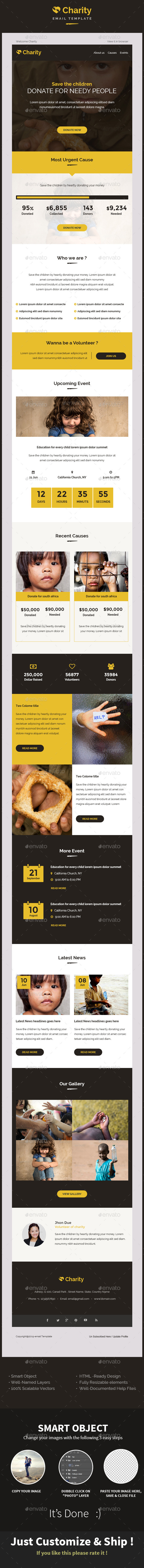 Charity Nonprofit Email Template PSD - E-newsletters Web Elements
