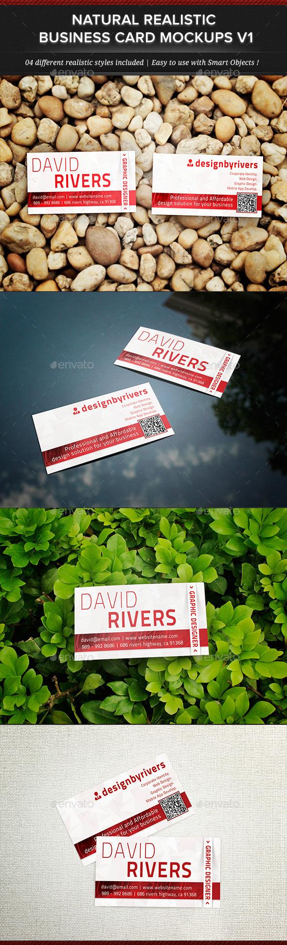 Natural Realistic Business Card Mockup V1 - Business Cards Print