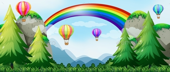 Rainbow and Balloons - Landscapes Nature