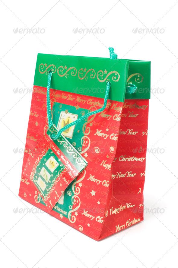Christmas Shopping Bag - Stock Photo - Images