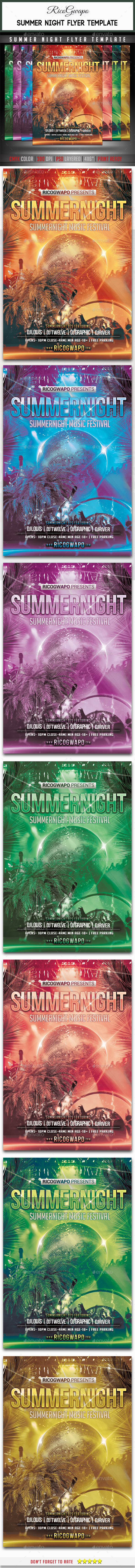 Summer Night Flyer Template - Flyers Print Templates