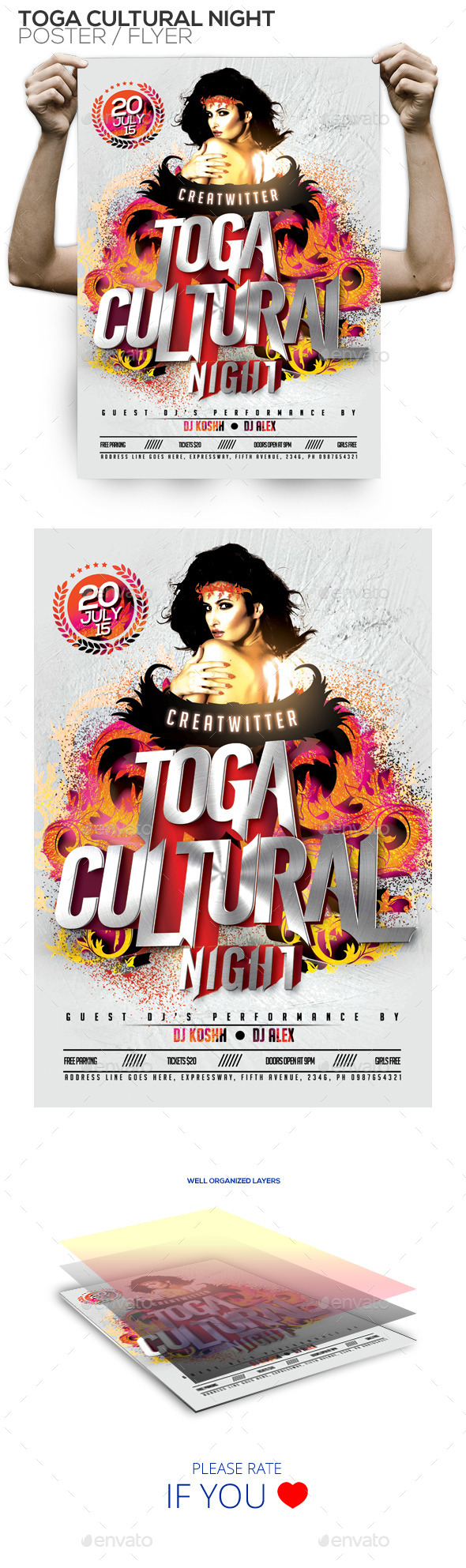 Toga Cultural Night PSD Poster/Flyer Template - Clubs & Parties Events