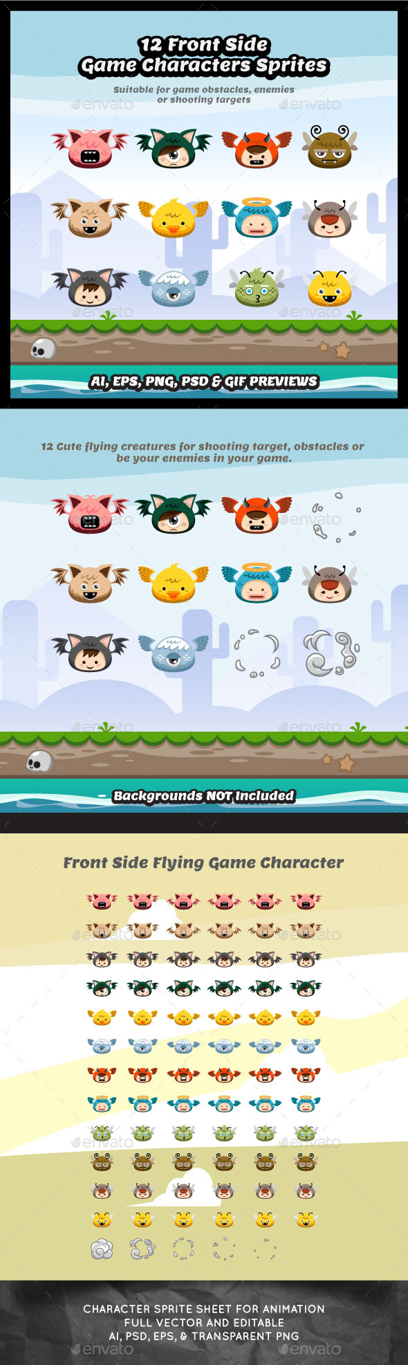 12 Front Side Flying Character Sprite Sheets - Sprites Game Assets