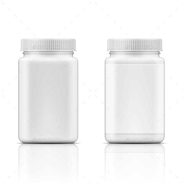 White Square Plastic Bottle For Pills. - Health/Medicine Conceptual