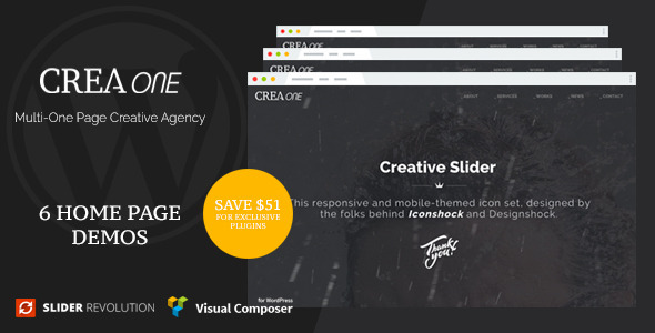 Creaone – Multi-One Page Creative Agency WP Theme