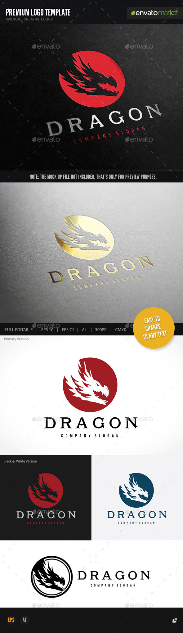 Dragon - Animals Logo Templates