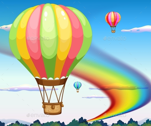 Balloons and Rainbow - Landscapes Nature