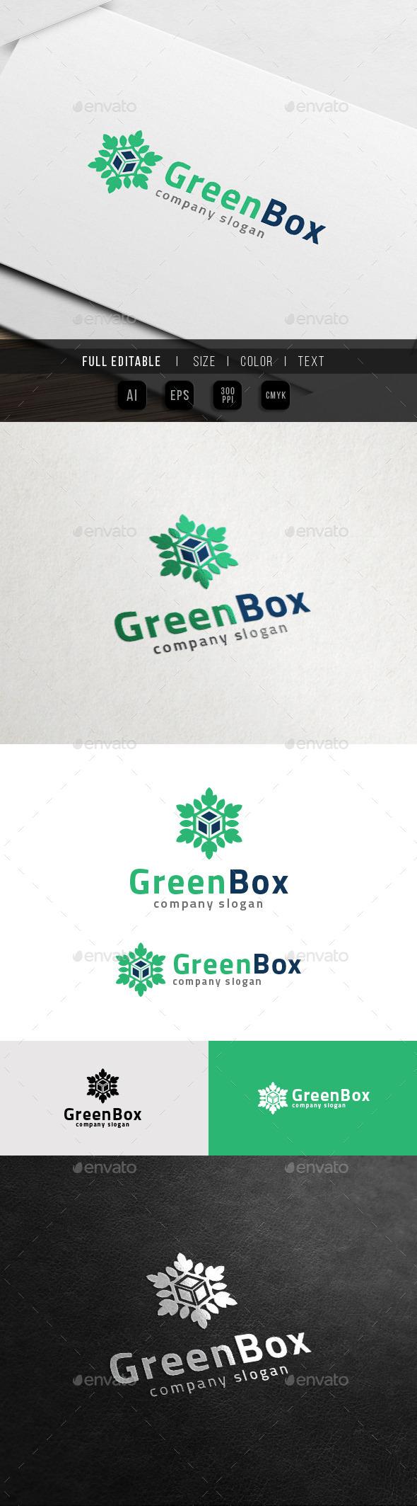 Green Box - Eco leaf Cube Logo - Nature Logo Templates